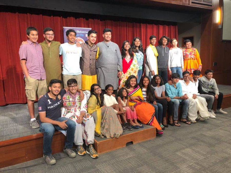 Exchange students from Bhubaneswar, India take a photo at their farewell party, held at Cupertino City Hall.