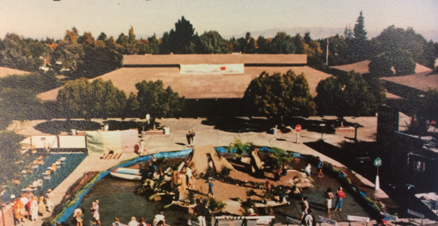 The Class of 1985 created an island in the quad, surrounded by a lake containing two feet of water.