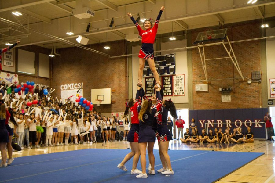 The cheer team performs at the Welcome Back rally