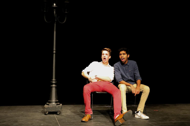 Seniors Greg Gontier (left) and Aditya Venkatesh (right) rehearse a scene before the fall showcase.