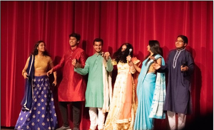 The+emcees+for+this+year%E2%80%99s+show+were+seniors+Rohan+Goel%2C+Zayhaan+Batlivala%2C+Rhea+Chowdhury%2C+Ananya+Manjunath%2C+junior+Shubra+Dubey+and+freshman+Alaap+Rag.+The+group+performed+an+Indian+parody+skit+of+Crazy+Rich+Asians+in+between+performances%2C+and+also+introduced+the+different+acts+of+the+night.