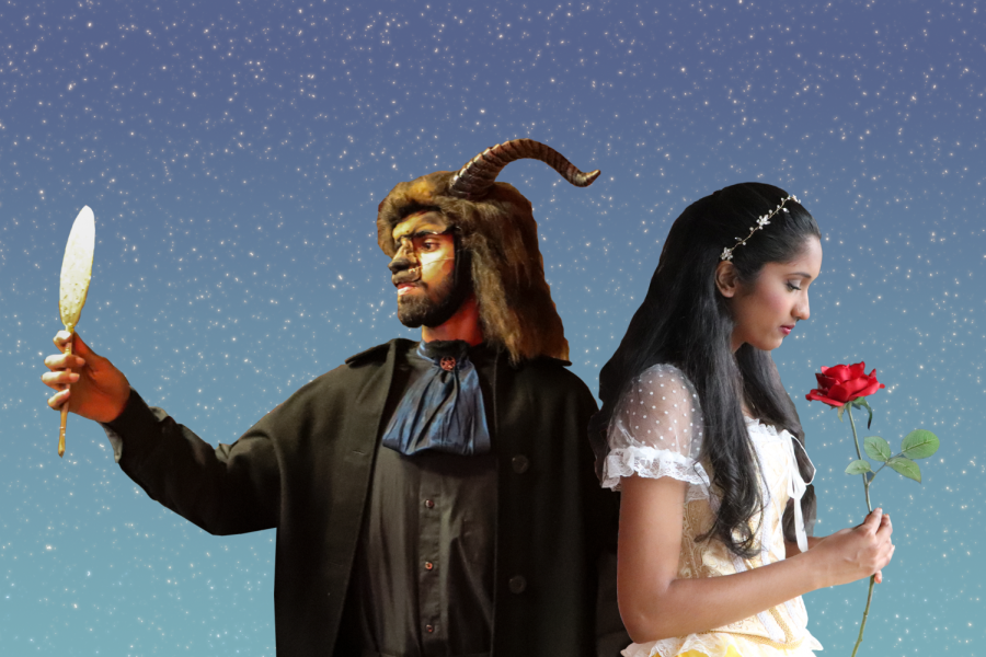 Aditya Venkatesh playing the Beast (left) and Meghna Kaligotla playing Belle (right)