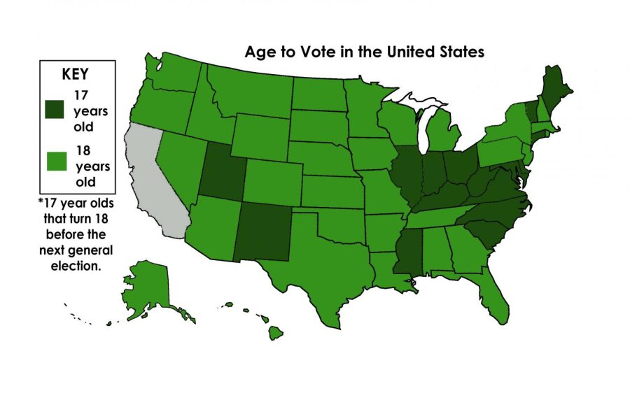 Graphic of the United States showing the required age to vote in each state
