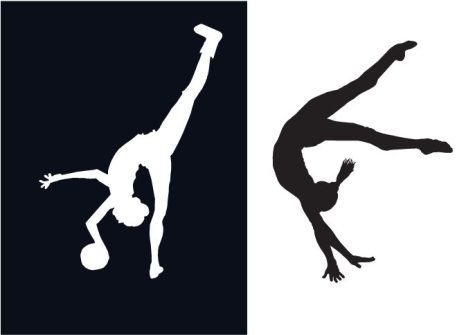 The white silhouette is a rhythmic gymnast with an injury on her foot. Mirroring her is an artistic gymnast, representing the writer, Audrey Wong and her twin sister