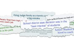 Graphic illustration depicting overlays of several headlines from coverage of Persky's hiring.