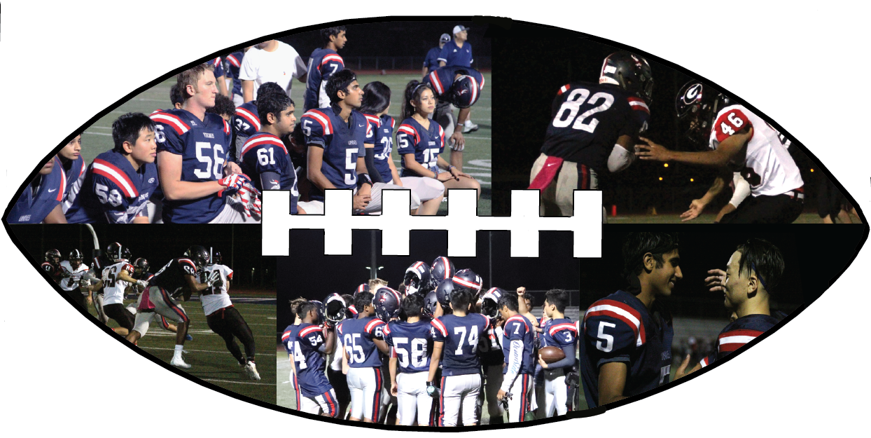 Top left: The team listens to an uplifting message from their coach after a heartfelt homecoming loss to Gunn High School on Oct. 25. Top right: Senior Jonathan Leslie runs the ball past a defender. The team has become less hesitant to tackle this season, which has contributed to gaining more yards in their games. Bottom right and center: The team refl ects on the game and celebrates the positive aspects of their performance.