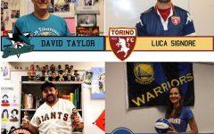 Staff cheer on their favorite sports team
