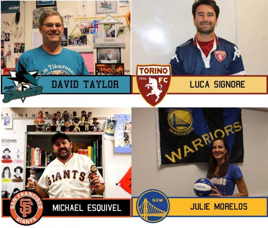 Staff cheer on their favorite sports team