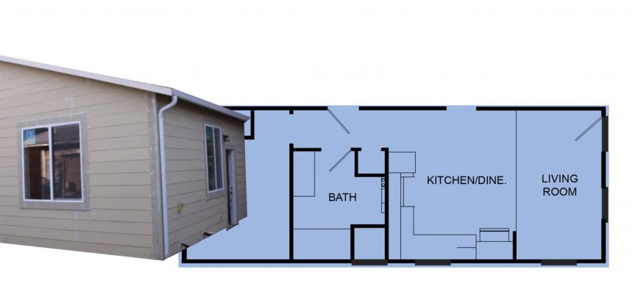 Photo and graphic of an example house blueprint
