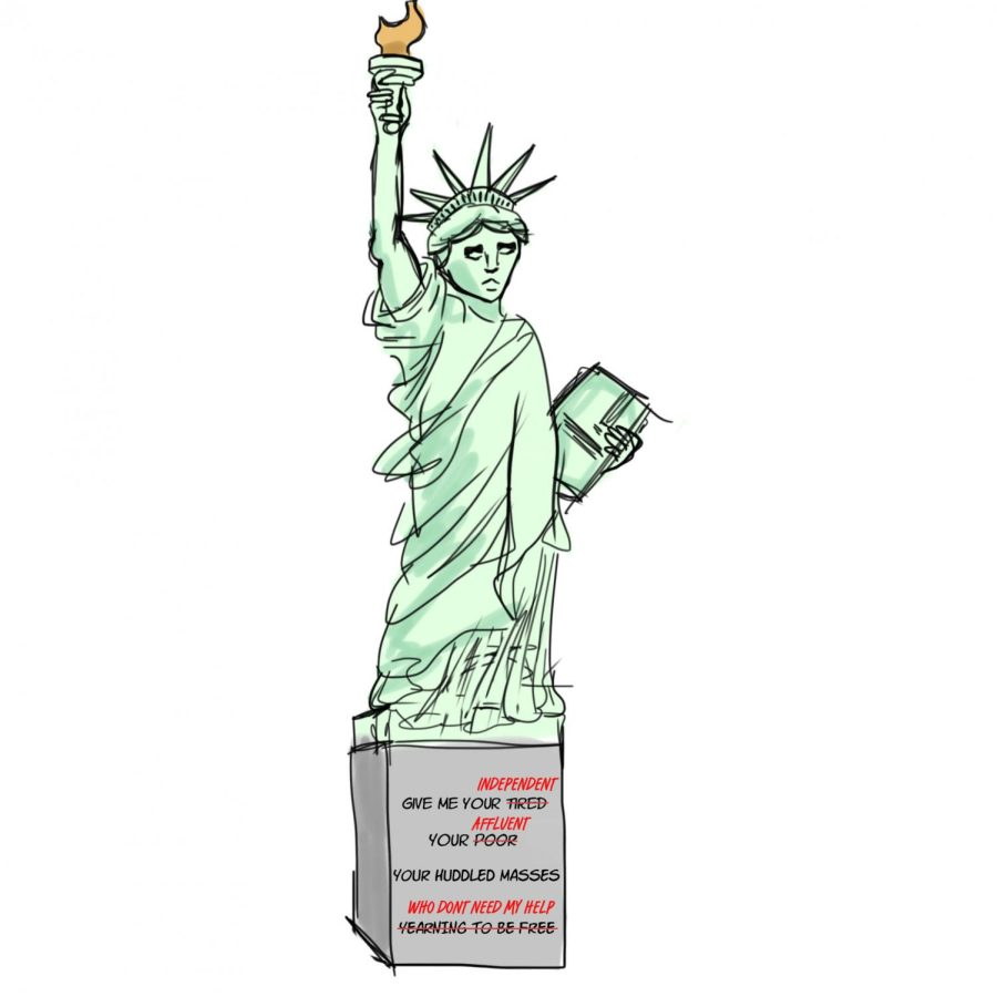 The Statue of Liberty's original inscription of Emma Lazarus's poem is reworded to say