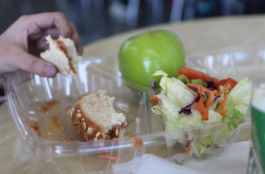 A popular choice of cafeteria lunch is a peanut butter and jelly sandwich with salad and fruit.