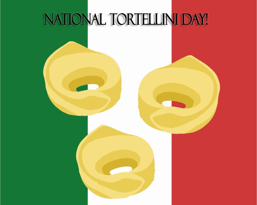Graphic illustration of tortellini with the Italian flag in the background.