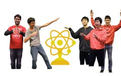 Lynbrook Science Bowl team members and the Science Bowl logo