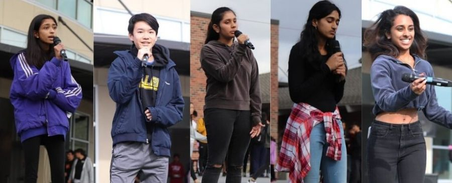 Organized by ASB Spirit, the first ever Lynbrook Idol competition took place in the quad during the last week of January, leading up to the Winter Rally and Winter Formal. Senior Twisha Sundararajan (right most) won the competition.