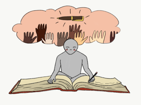 Graphic Illustration by Alara Dasdan. A character writes in a large red book with a thought bubble of diverse people holding up a pen representing the diversity in writing emphasized by the new course.