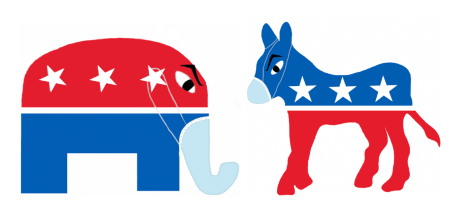 Graphic Illustration by Sruthi Medepalli.  Democratic donkey and Republic elephant staring angrily at each other with masks on.