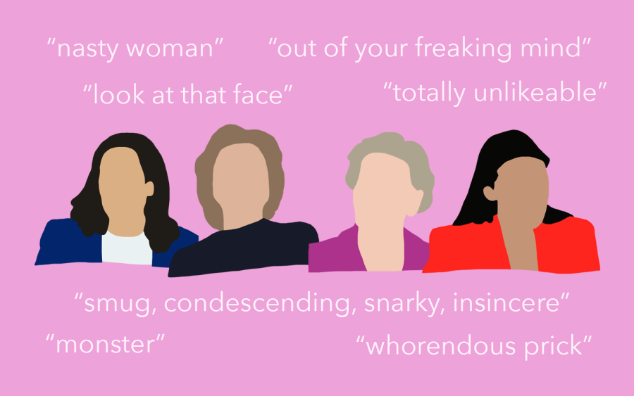 Stylized portraits of Kamala Harris, Hillary Clinton, Elizabeth Warren and Alexandria Ocasio-Cortez are centered on a pink background. Negative quotes from political opponents surround them.