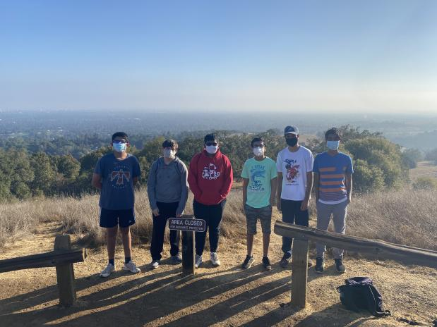 Sophomore Dhruv Malik hikes with his friends at the Rancho San Antonio Preserve.