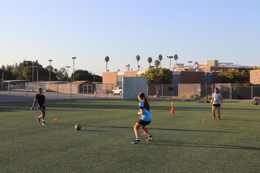 Girls' soccer players practice passing the ball.