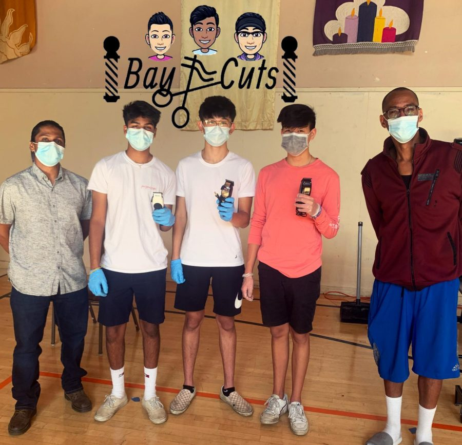 Bay Cuts poses with their hair clippers with Sachin Radhakrishnan and one of the administrators at the church.