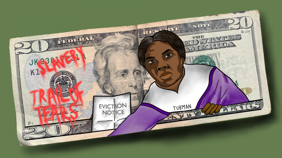Harriet Tubman hovering over Andrew Jackson to replace him on the $20 bill.