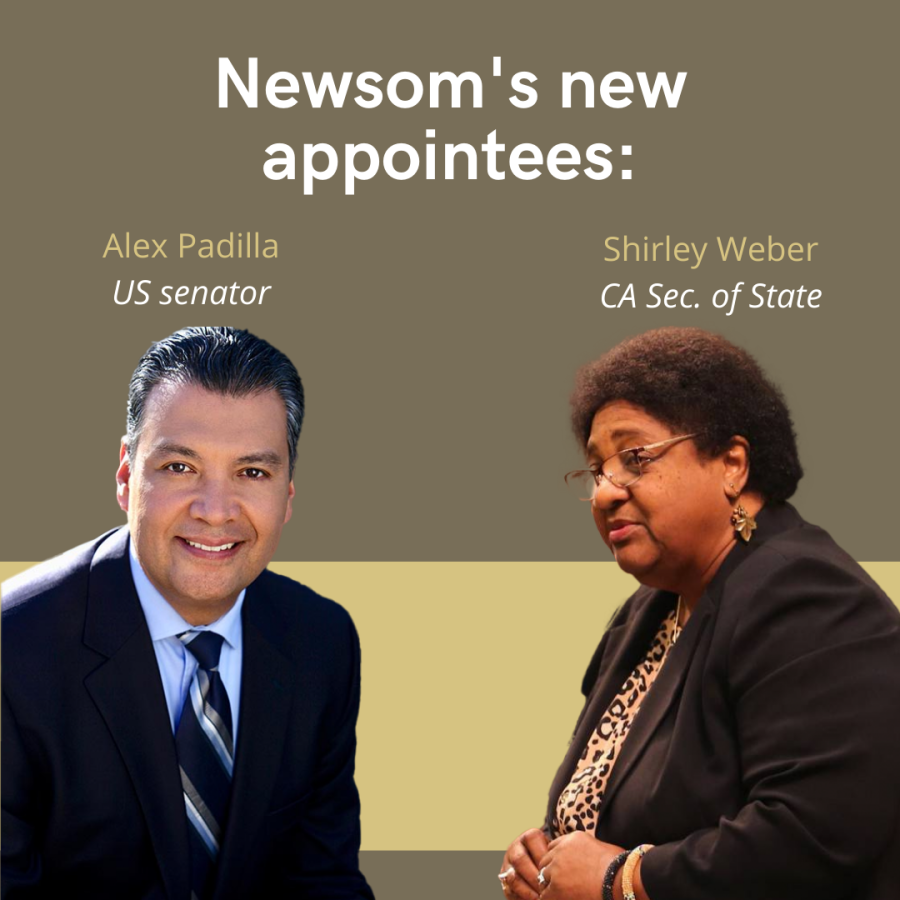 Gov. Newsom appointed California's first Latino Senator and first African American Secretary of State in Padilla and Weber, respectively.
