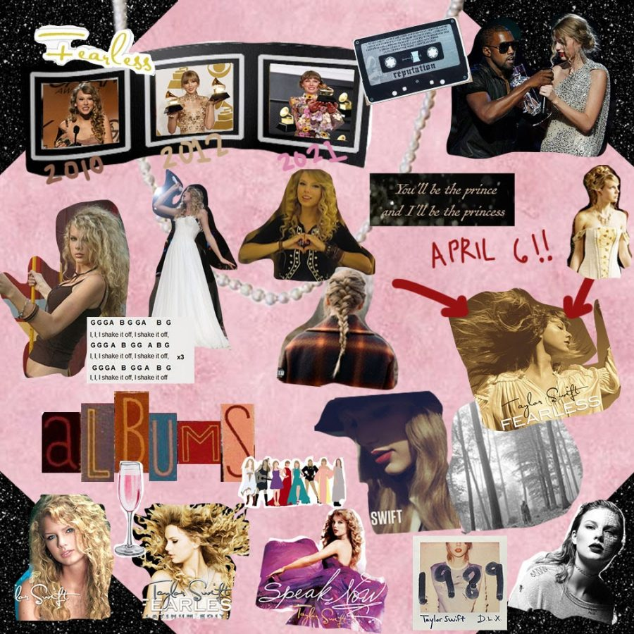 A montage of photos of Taylor Swift's career thus far.