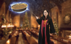 """With a swish of my wand, I levitate my treacle tart into the Great Hall of Hogwarts. Remember, it's """"LeviOsa,"""" not """"LeviosA."""""""