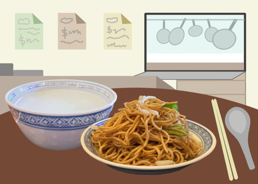 I tried cooking porridge and soy sauce chow mein that restaurants serve for breakfast.