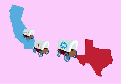 Tesla, Oracle and HP are among the companies relocating headquarters or operations to Texas.