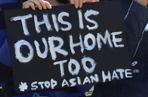 Hundreds of people gathered in front of the Saratoga City Hall to protest AAPI hate on March 27, holding signs with powerful messages like the one pictured above.