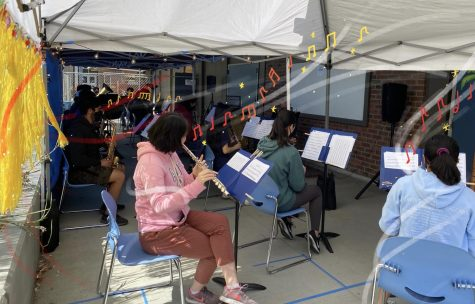 Mr. Pakaluk's band class practices in the cabana. (Photo used with permission of Richard Chiu.  Graphic illustration by Anwen Huang.)