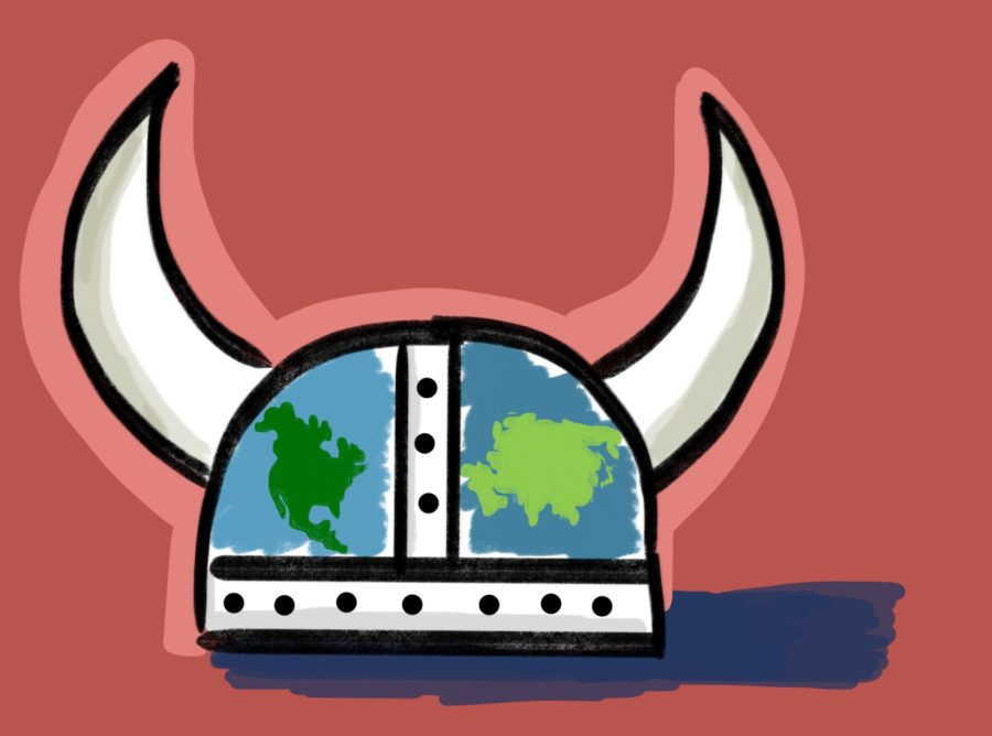 A viking helmet picturing the continents of North America and Asia, symbolizing the diversity and history of Lynbrooks Asian history