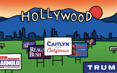 Celebrity candidates' yard signs in front of the backdrop of Hollywood's famous white sign.