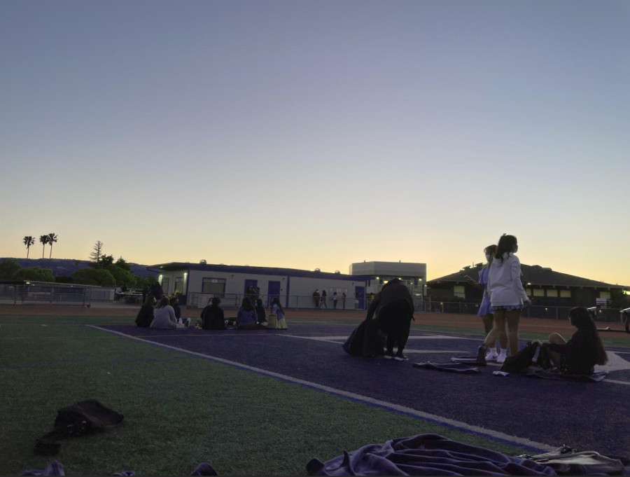 On the evening of May 27, the Class of 2021 gathered on the football field to watch the sunset as one of their Senior Night activities. (Photo by Ethan Lin.)
