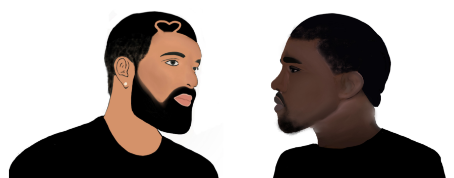 Drake+and+Kanyes+long+rivalry+has+come+into+picture+with+the+releases+of+Certified+Lover+Boy+and+Donda.+%28Graphic+Illustration+by+Anushka+Anand%29+