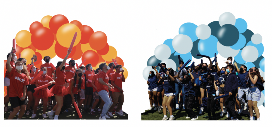 Juniors and seniors cheer for Homecoming, and their rematch after the juniors' first place win at the Welcome Back Rally on Aug. 27. (Photos by Mei Corricello and graphic illustration by Amy Liu)