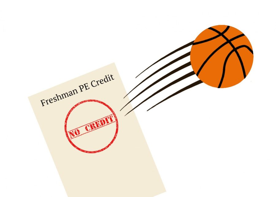 Freshmen are earning no PE credits after a season of sports. (Graphic Illustration by  Nicole Ge and Audrey Sun)